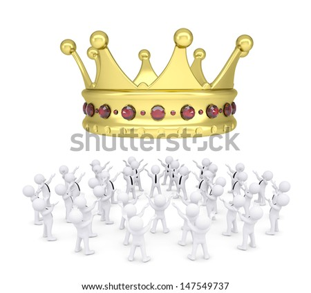 Group of white people worshiping crown. 3d render isolated on white background - stock photo