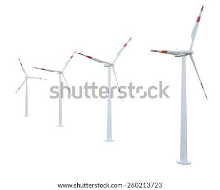 Group of wind turbines isolated on white background. 3d illustration high resolution - stock photo