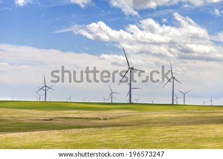 Group of windmills in spring meadows - stock photo