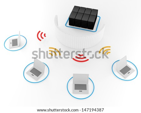 Group of Wireless network server firewall 3d image for Illustration - stock photo