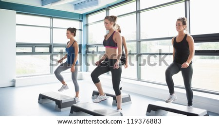Group of women doing aerobics in gym - stock photo
