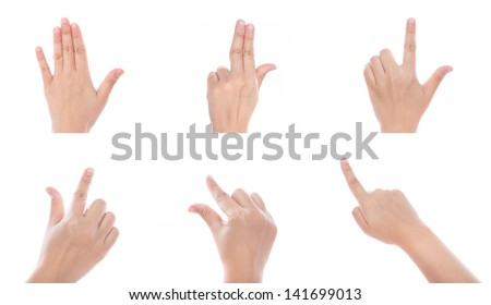 Group of Women hand use multi-touch gestures for tablets or touch screen device - stock photo