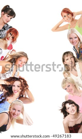 group of women on white - stock photo