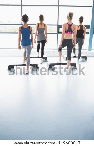 Group of women stepping on boards in gym - stock photo
