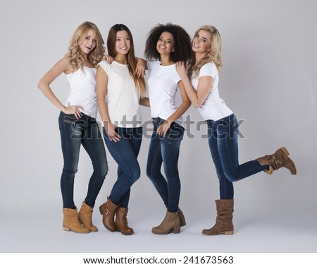 Group of women with different nations - stock photo