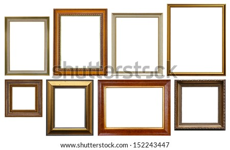 Group of Wooden Picture Frames Isolated On White Background  - stock photo