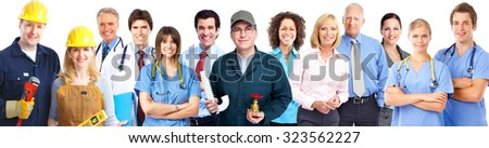Group of workers people in uniform. Teamwork background - stock photo