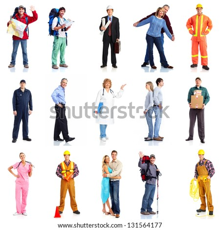 Group of workers people set. Isolated on white background. - stock photo
