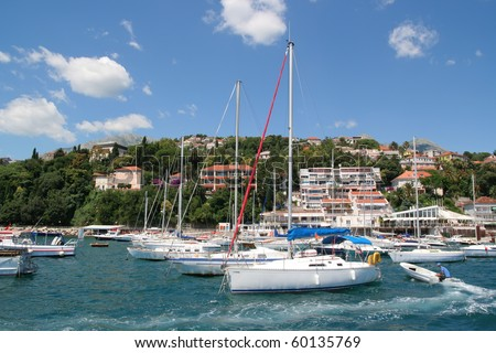 Group of yachts in the harbor. - stock photo