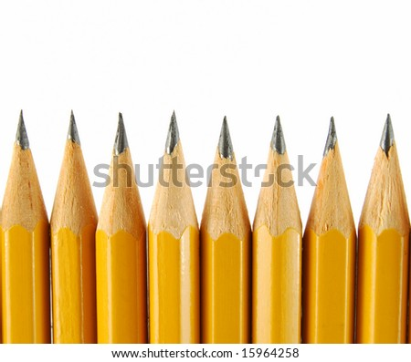 Group of yellow pencils on the white background - stock photo
