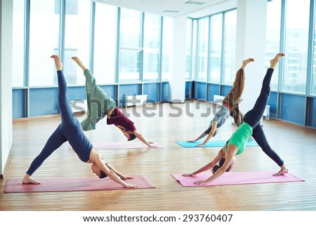 Group of yoga lovers doing exercise on mats in gym - stock photo