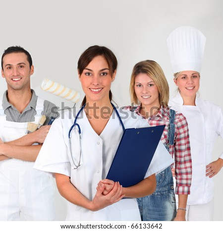 Group of young adults on business training - stock photo