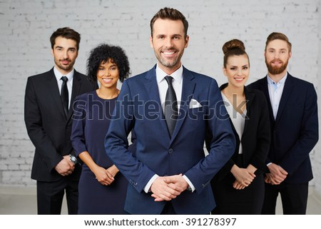 Group of young attractive business people - stock photo