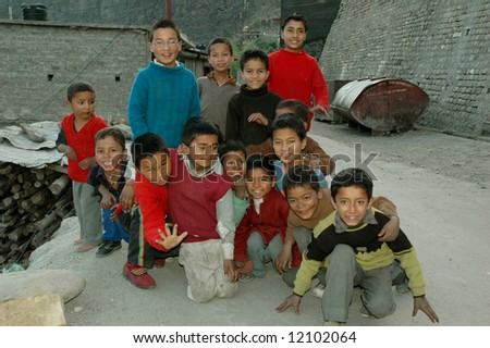 Group of young children in small village in northern India - stock photo