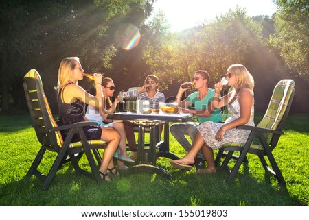 Group of young friends enjoying a garden party on a sunny afternoon - stock photo