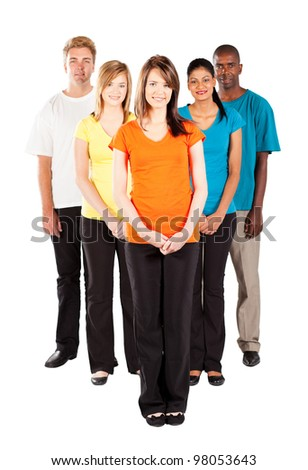 group of young multiracial people isolated on white background - stock photo