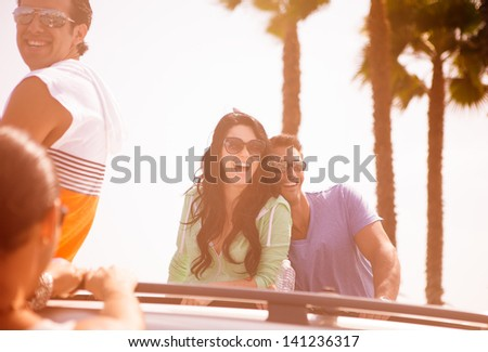 Group of Young People at Venice Beach in Los Angeles - stock photo