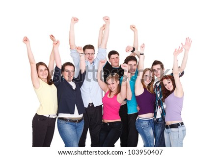 group of young people happy excited smiling friends standing and holding hands up - stock photo