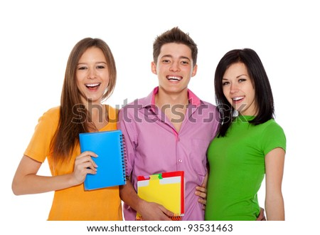 Group of young people, happy excited smiling students standing holding notebooks, friends isolated on white background - stock photo