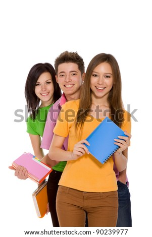 Group of young people, happy smiling students standing in a row holding notebooks, friends isolated on white background - stock photo