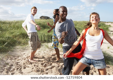 Group Of Young People Having Fun Dancing On Beach Together - stock photo