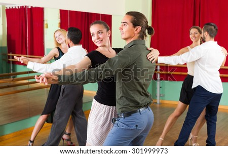 Stock Photo Group Of Young People Having Fun While Dancing Tango on Polka Steps Diagram