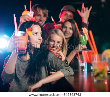 Group of young people having party celebration. - stock photo