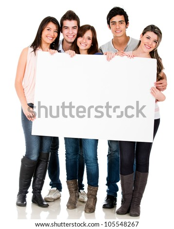 Group of young people holding a banner - isolated over white - stock photo