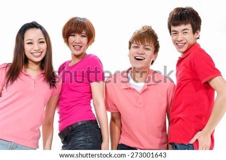 group of young people standing together in a row. posing - stock photo