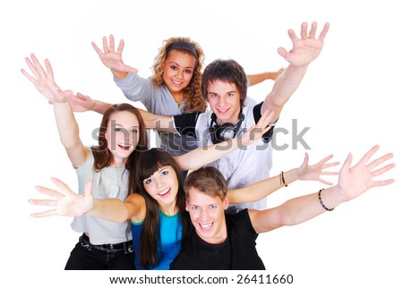 Group of young people with hands up - happiness concept - stock photo