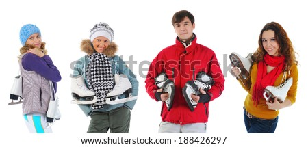 Group of young people with skates. Isolated on white background - stock photo