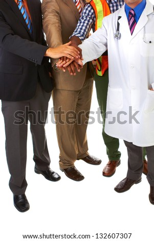 group of young professionals with all hands in isolated on white background - stock photo