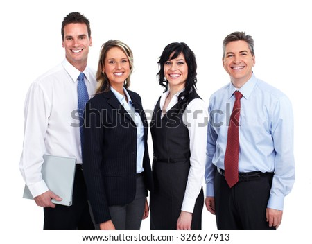 Group of young smiling business people isolated white background. - stock photo