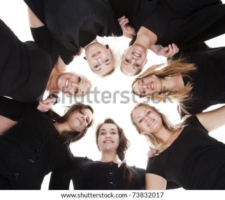 Group of Young Women from low angle view - stock photo