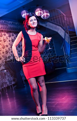 group of young women on the dance floor - stock photo