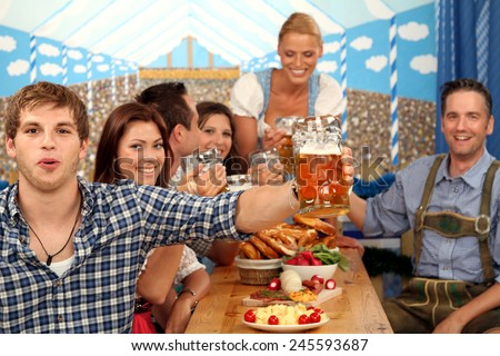 group on the oktoberfest - stock photo