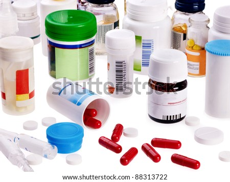 Group pack of pills. Remedy isolated. - stock photo