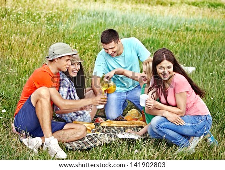 Group people on picnic summer outdoor. - stock photo