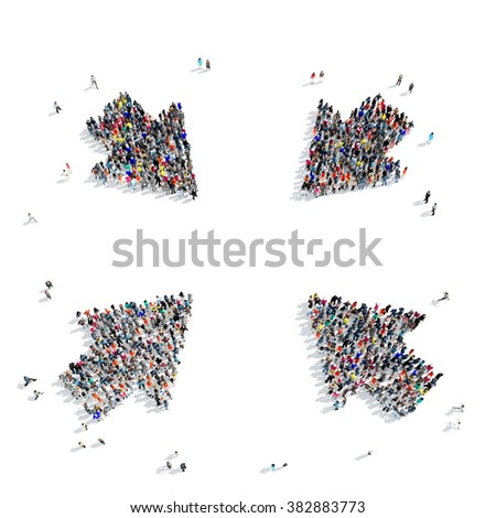 group people  shape  arrow icon - stock photo
