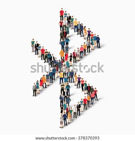 group  peoplee shape bluetooth - stock photo