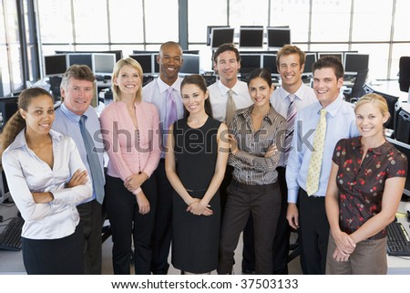 Group Photo Of Stock Traders Team - stock photo