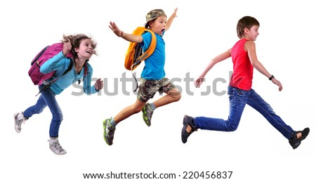 Group portrait of happy schoolgirl and schoolboys with a backpacks  running and jumping together. Isolated over white background. Education childhood concept - stock photo