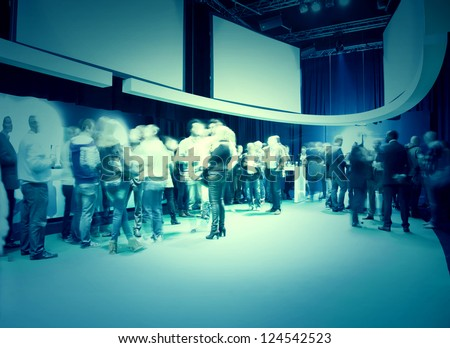 group presentation by modern technology communication - stock photo