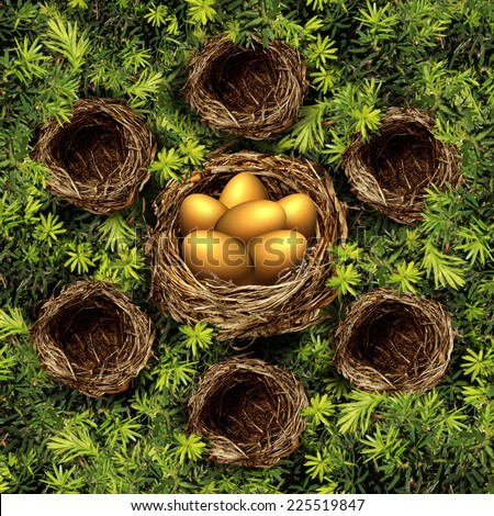 Group savings and retirement plan concept as a group of small bird nests connected to a large nest with gold eggs as a financial symbol for community investment strategy pooling funds for profit. - stock photo
