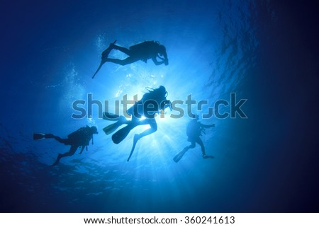 Group scuba divers diving underwater in sea: silhouette and sun - stock photo