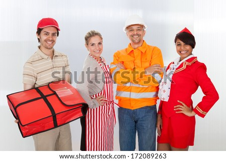 Group Shot Of Professional Worker Standing Together - stock photo