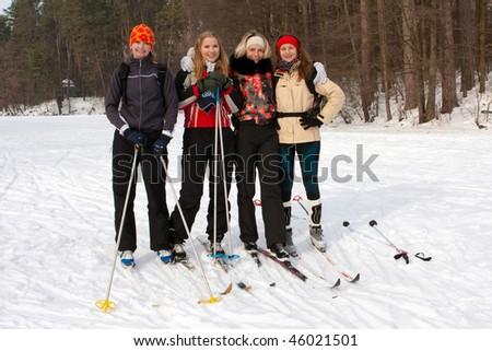 group skiers - stock photo