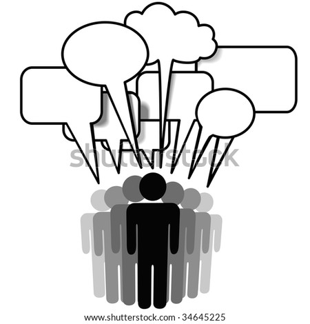 Group Speak - social network media people talk together in communication speech bubbles. - stock photo