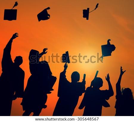 Group Students Celebrating Graduation Silhouette Concept - stock photo