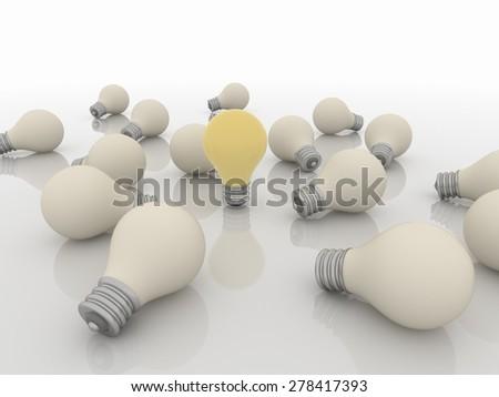 Group Team of Light Bulbs, Idea and Solution Concept - stock photo